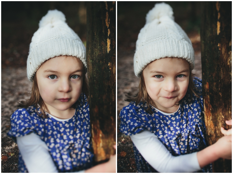 Little girl in bobble hat