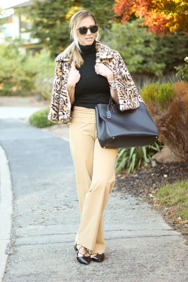 cropped faux fur leopard jacket