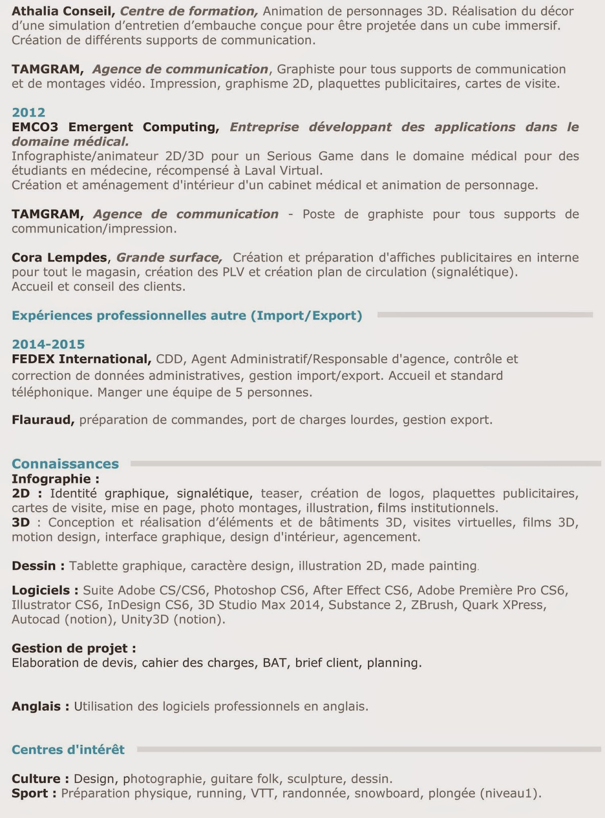 CV Geoffrey VIALETTE Graphiste 2D 3D