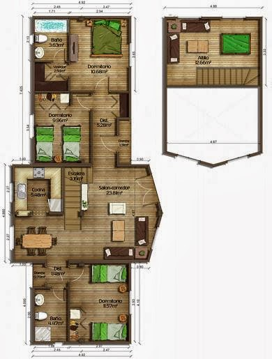 Planos de casas plano con buhardilla de 119 m2 - Casas con buhardilla ...