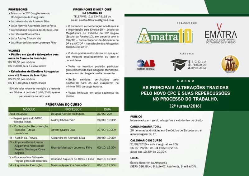 CURSO EMATRA - CPC E PROCESSO DO TRABALHO