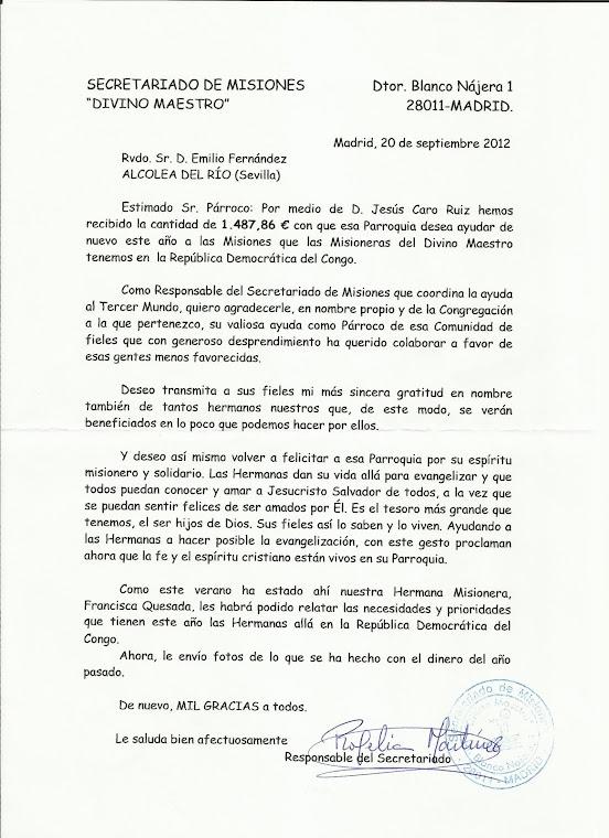 CARTA SUPERIORA MISIONES DE ZAIRE