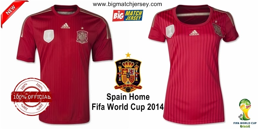 Jersey Bola Grade Ori Couple Spain Home Official World Cup 2014