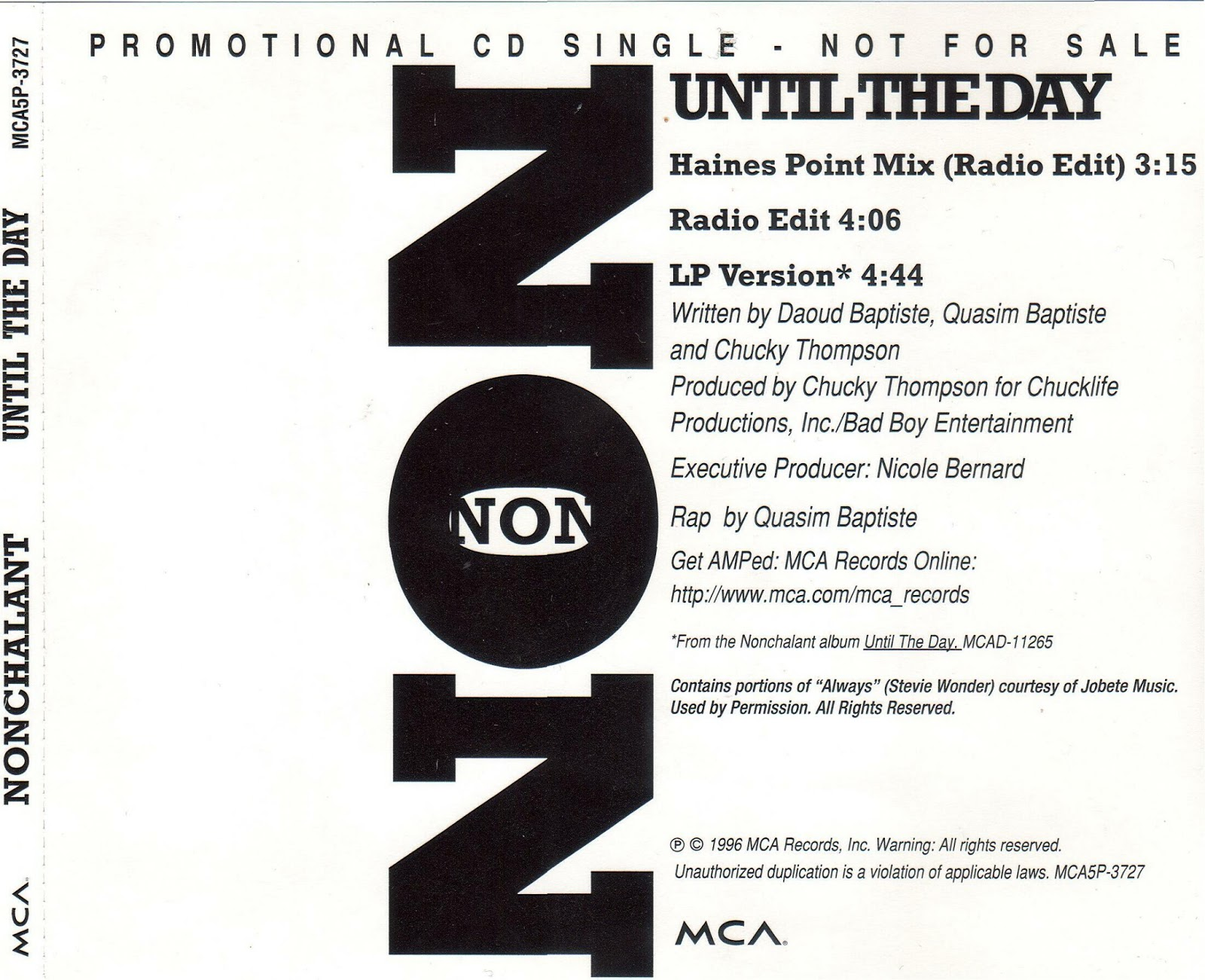 Nonchalant – Until The Day – CDS – 1996 (160kbps)