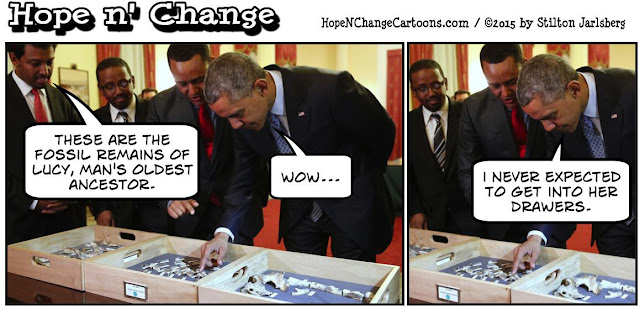 obama, obama jokes, political, humor, cartoon, conservative, hope n' change, hope and change, stilton jarlsberg, obama, ethiopia, lucy, fossils, africa
