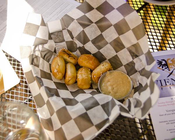 Pretzel bites at Viener Fest German restaurant in Nashville Tennessee