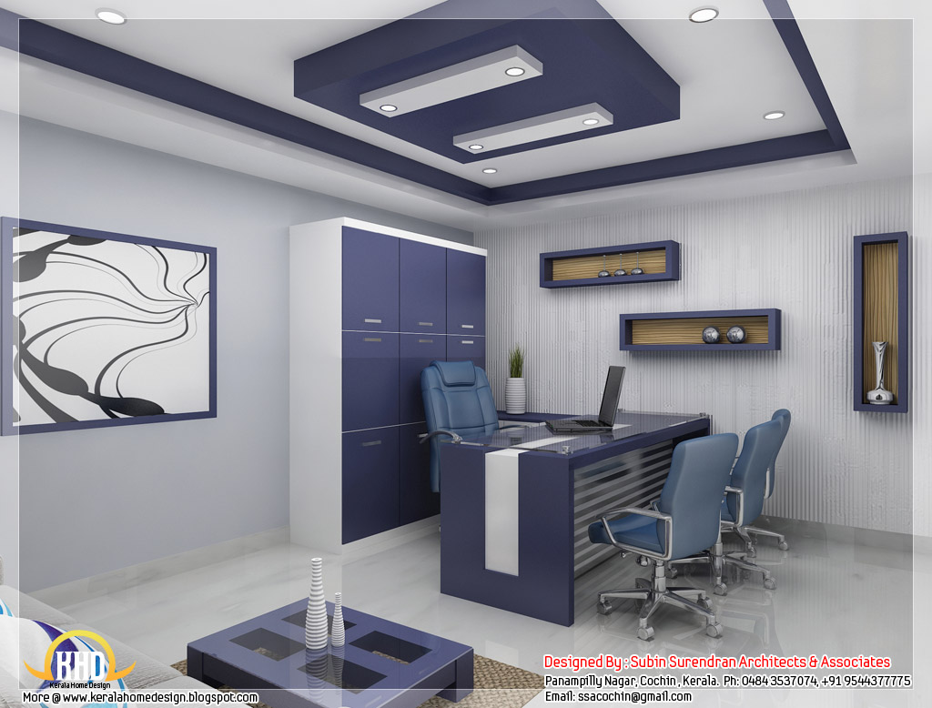 Beautiful 3d interior office designs kerala home design for Office table 3d design