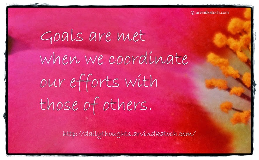 Goals, efforts, Coordinate, others, Daily Thought, Quote