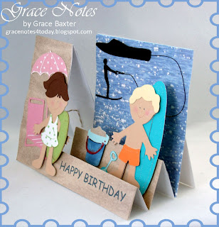 Brother and Sister at the Beach birthday card