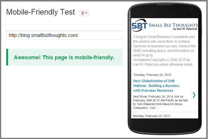 Test your web site for mobile friendliness