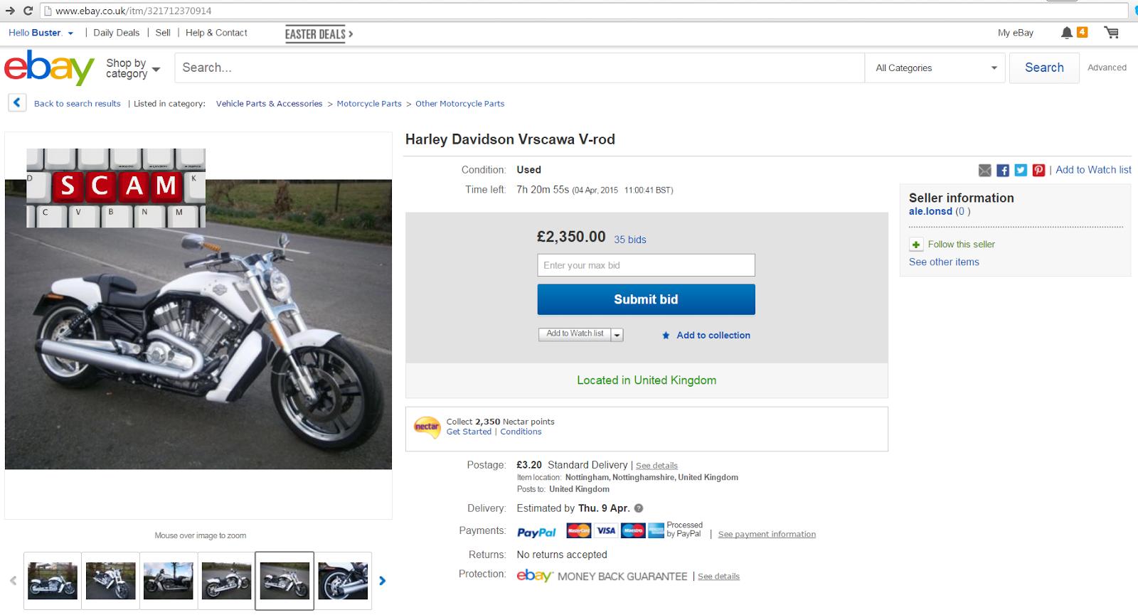 EBAY SCAM : Harley Davidson Vrscawa V-rod | 2014/14 FRAUD | 04-Apr ...