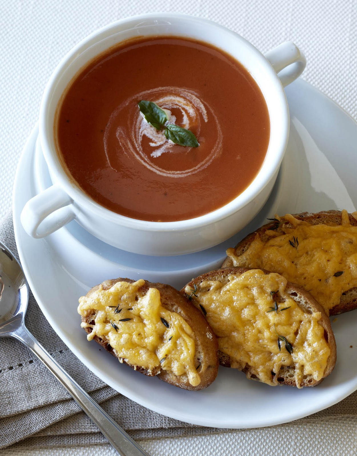 Tomato soup with toasted cheese
