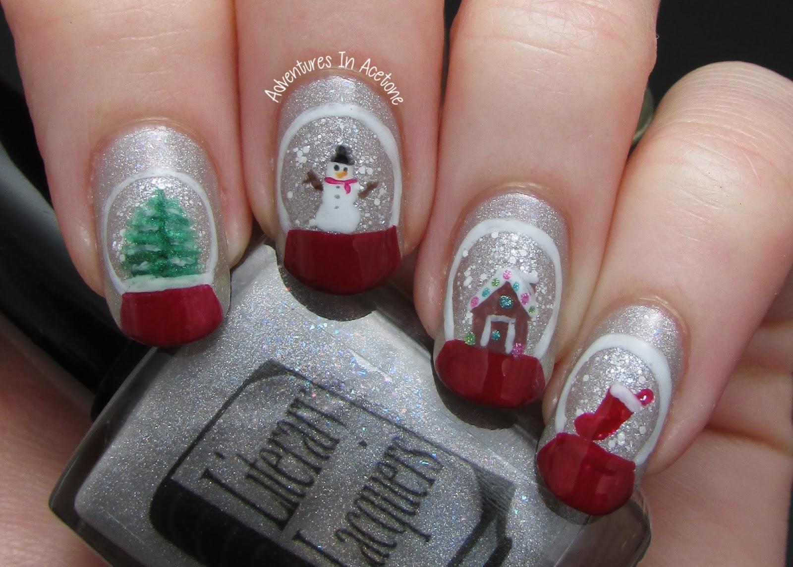 На ногтях снеговик фото