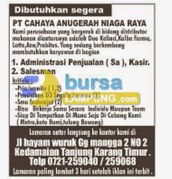 Lowongan Kerja Lampung PT. Cahaya Anugerah Niaga Raya 16 Juni 2014
