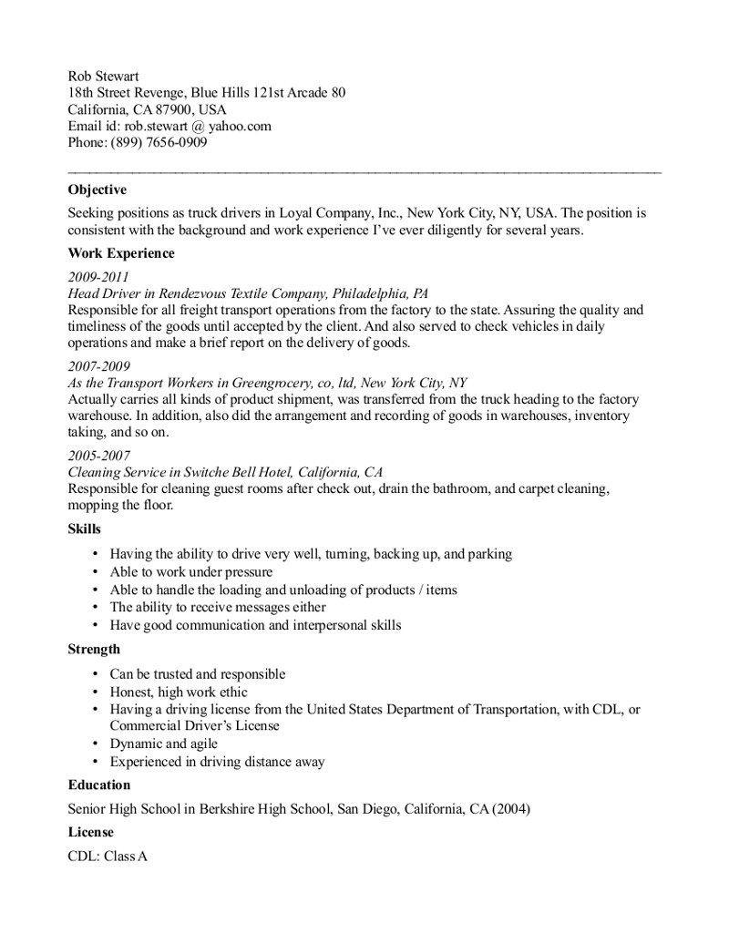 Sample Resume Truck Driver
