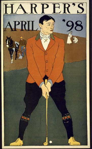 classic posters, free download, graphic design, national park, nature, retro prints, sports, travel, travel posters, vintage, vintage posters, advertising, Harper's April 1898 - Vintage Sports Golf Poster