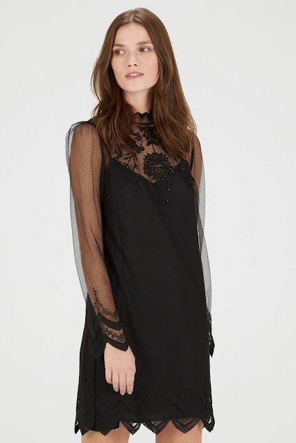 black beaded lace detail dress, black beaded detail dress, warehouse black bead dress,
