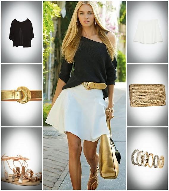 Look da semana dia - Blusa preta, saia branca, sandálias, mala  e cinto dourados