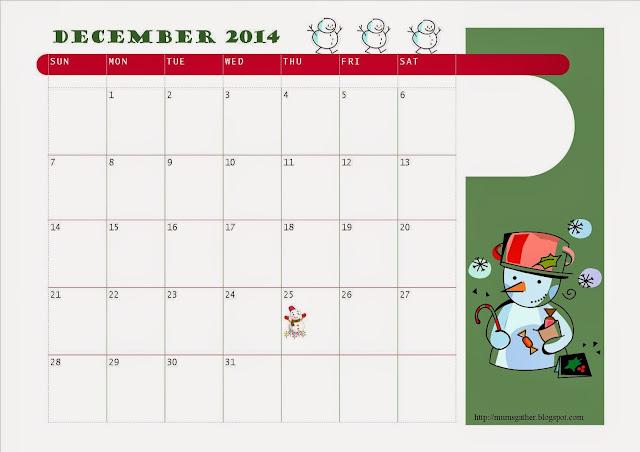 December 2014 Kids Calendar Snowmen