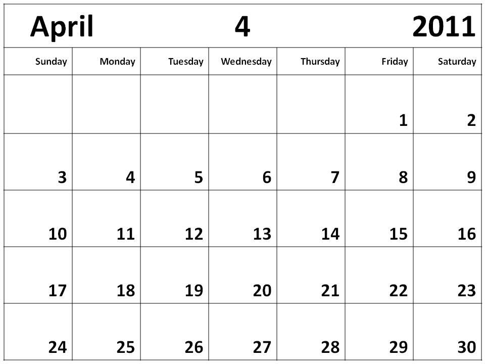 blank 2011 calendar april. lank calendar april 2011.