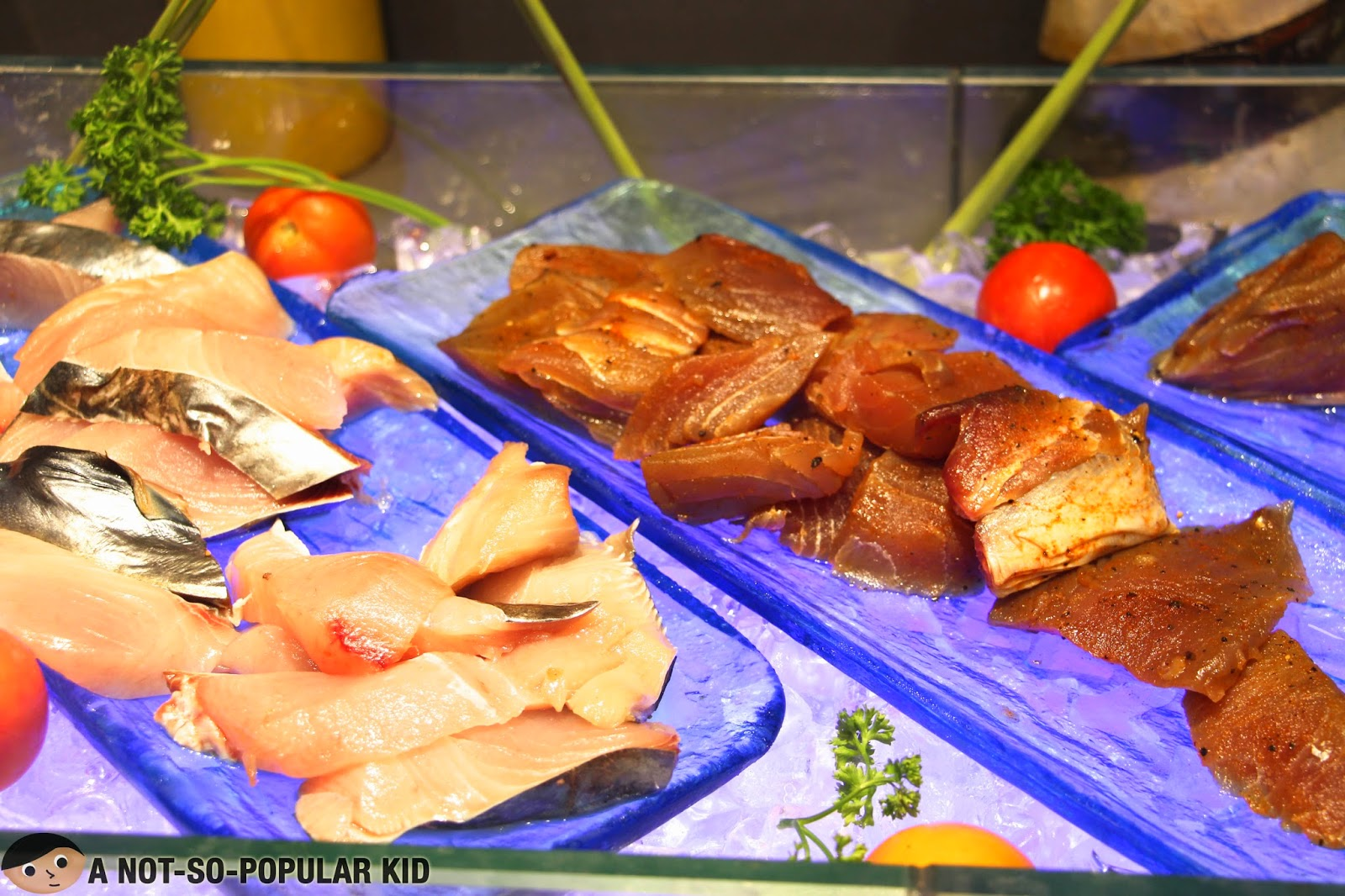 Grillable tuna and more in the seafood area of Vikings