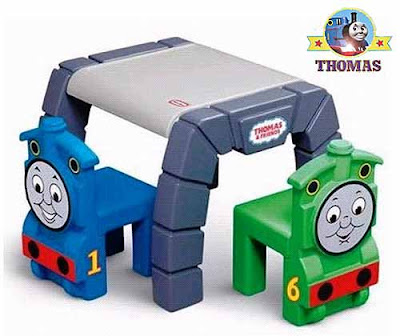 Train themed play room furnishing Little Tikes Thomas and Friends Table and Chairs Set for children