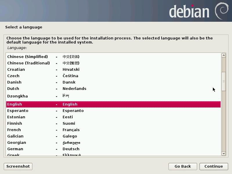 Pemilihan bahasa instalasi