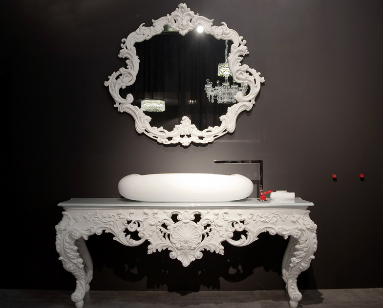 The marcel wanders bath collection for bisazza combines for Baroque resin mirror