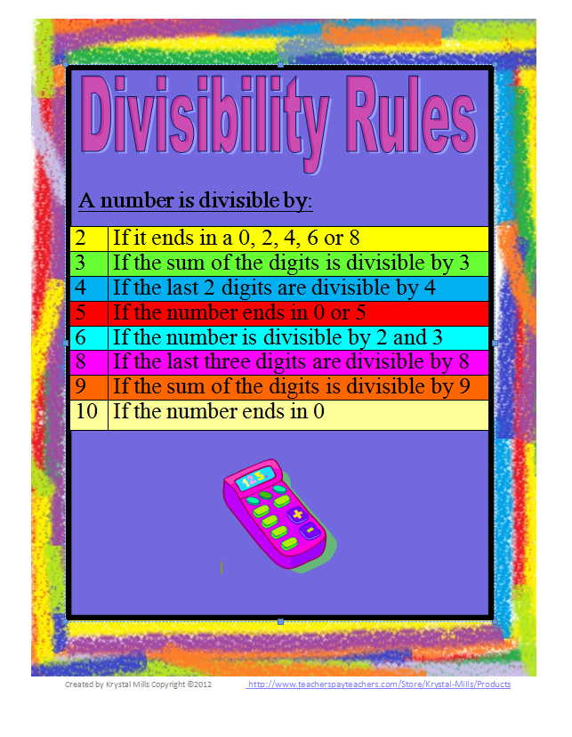 Divisibility Chart 2 10, Divisibility Rules 1 10 Chart, Divisibility ...