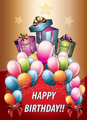 Postal de cumpleaños con mensaje en Inglés de Happy Birthday