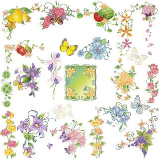 春の花と蝶のカラフルな装飾素材 spring floral ornaments with colorful flowers and butterflies イラスト素材