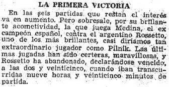 ABC resalta la victoria de Medina sobre Rosseto en el Match Internacional de Ajedrez Argentina-España, 1946