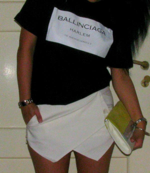 Ballinciaga Tshirt Choies & White Skorts Choies - Clutch H&M - jewelry Romwe