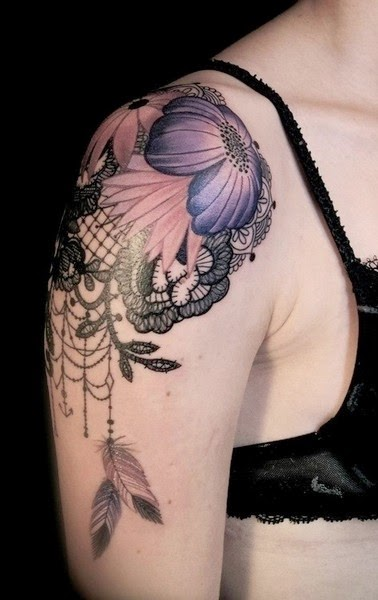 Flower Tattoo on Shoulder for Women