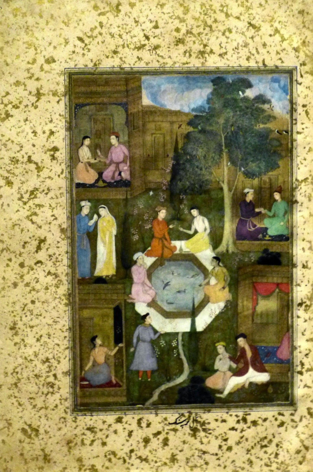 Seven couples in a garden by Bukharan artist (c1510) in  Khamsa (Quintet) of Nava'i manuscript by Mir 'Ali Sir Neva'i Haeva'i (1492)