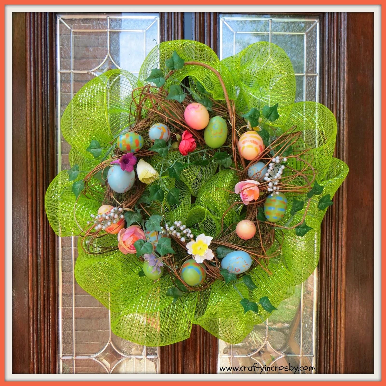 Deco Mesh, mesh ribbon, Hobby Lobby, Easter, Easter Wreath