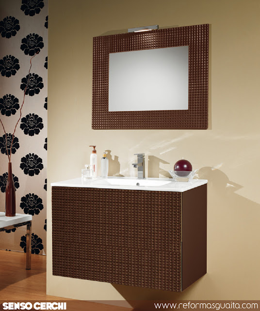 mueble baño laca alto brillo chocolate cerchi