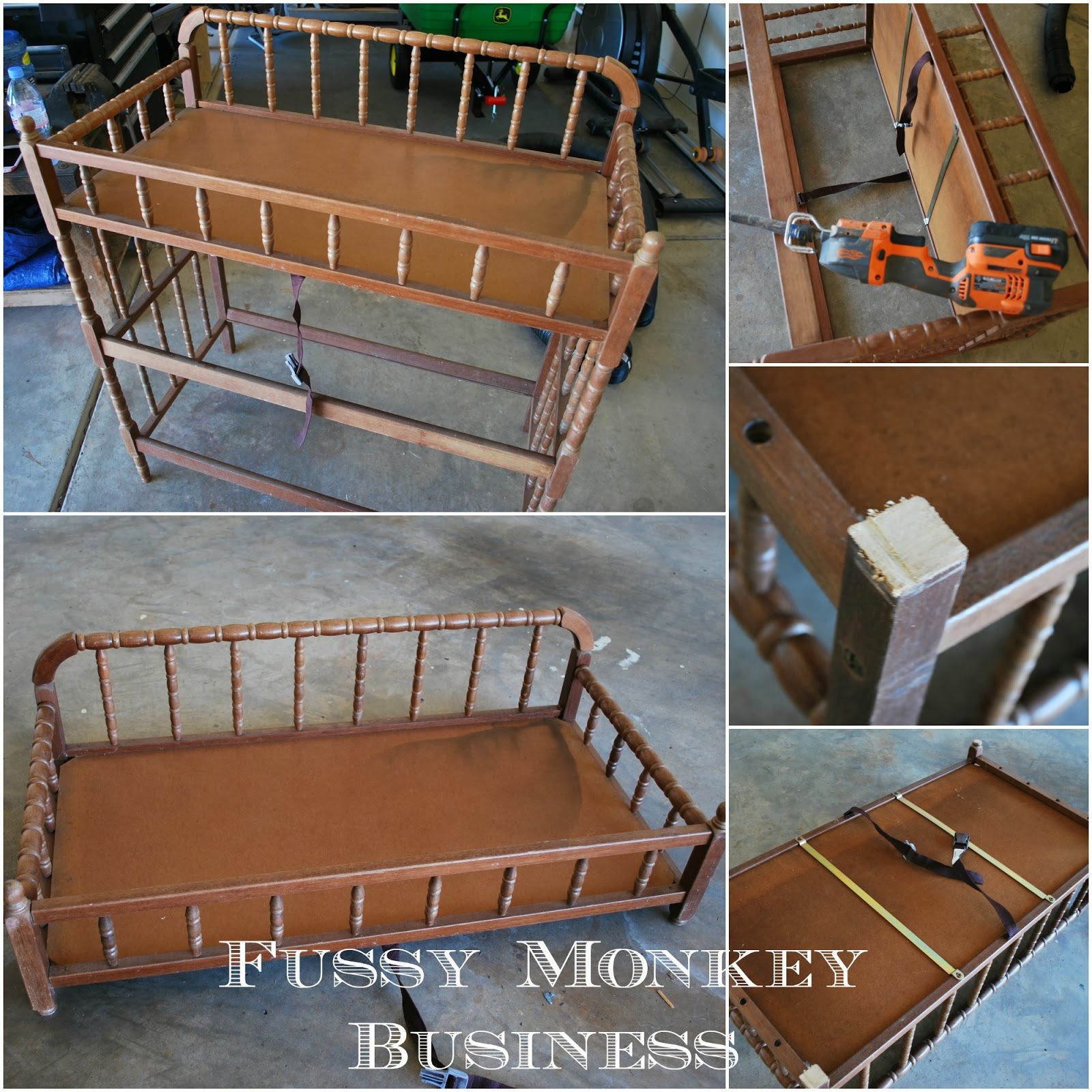 Fussy monkey business changing table turned dog bed for Making a dog bed out of a table