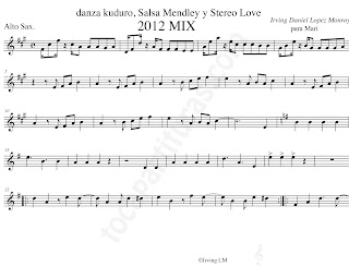 Partitura de Danza Kuduro Salsa Medley y Stereo Love Partitura para Saxo Alto en Mi bemol Danza Kuduro Salsa Medley y Stereo Love Sheet Music for Alto Sax Sheet Music. Partitura en Clave de Sol que sirve para flauta, violín, trrompeta, soprano sax, tenor sax, barítono, oboe, clarinete...