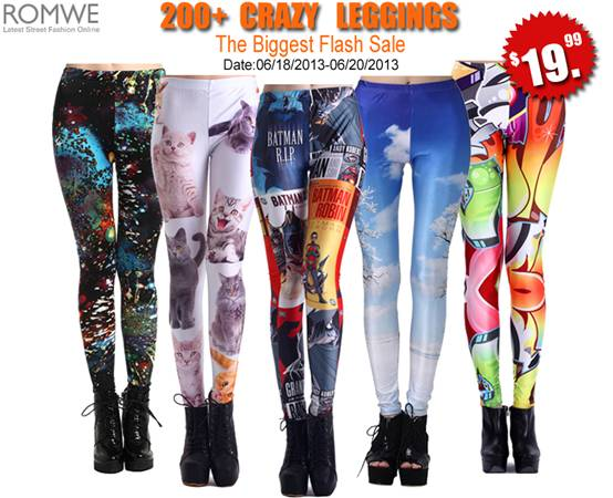 Romwe leggings flash sale  200 crazy leggings, only $19.99