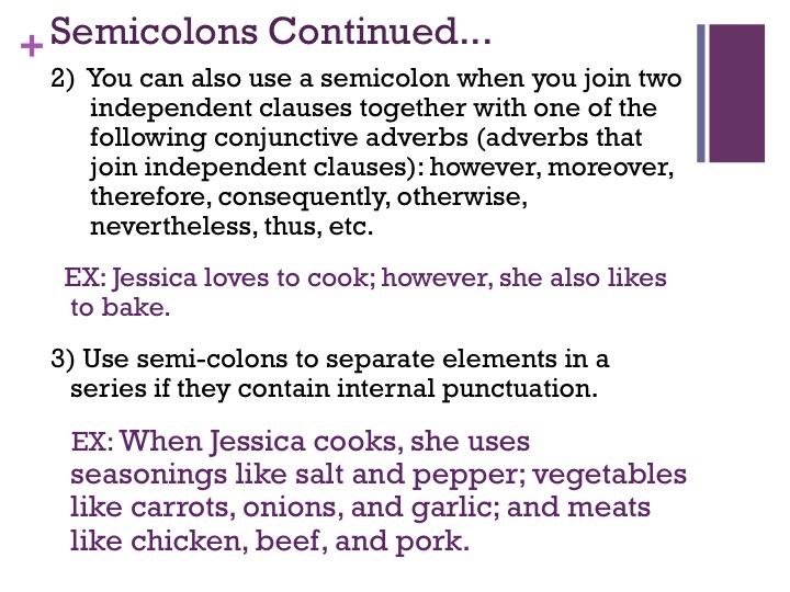 Image Gallery Semicolon Examples