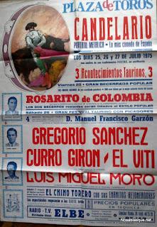 Cartel de toros de Candelario Salamanca fiestas de 1975