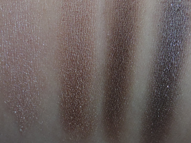 Urban Decay Naked Smoky Palette (swatches from left) High, DirtySweet, Radar, Armor