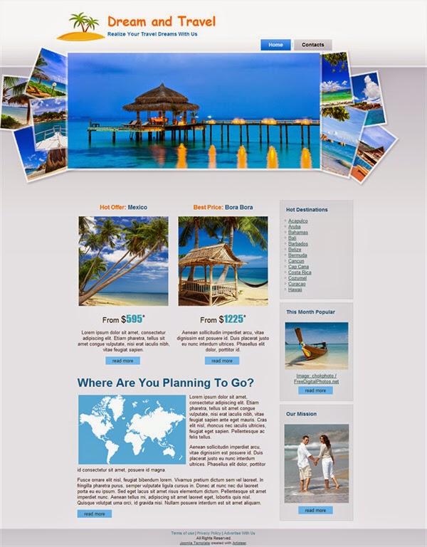 Dream And Travel - Free Joomla! Template