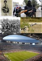 Hombres armados y partido de futbol