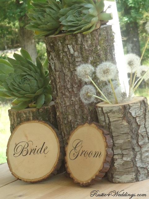 Rustic weddings bride and groom wood slice signs for