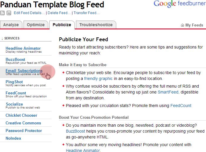 Cara Membuat Email Subscriptions di Feedburner