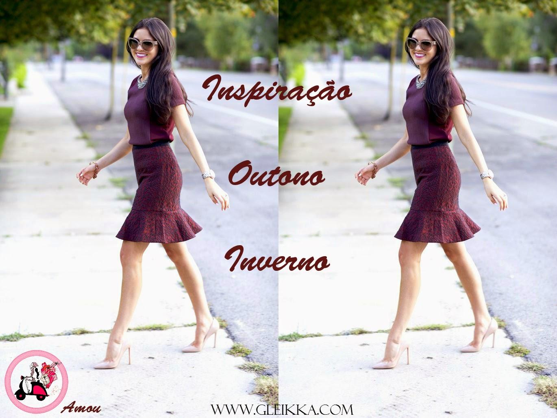 blog Gleikka, tendências, look inspiração, outono inverno 2014, burgundy, saia no inverno, look elegante
