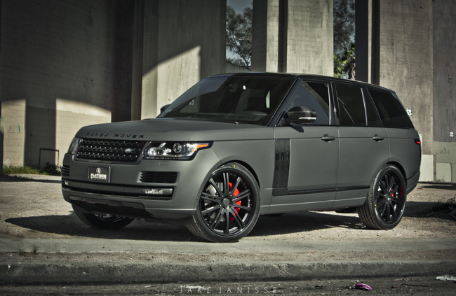 Platinum motorsports shows off a matte grey carbon fiber range rover doing donuts with bernie
