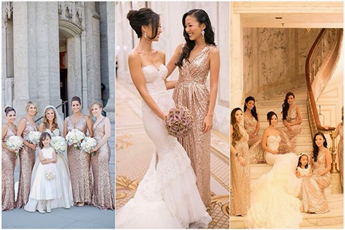 Glittery Gold V Neck Long Bridesmaids Dresses